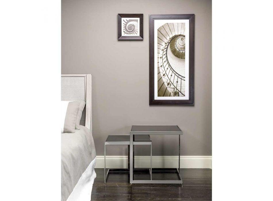 2 borde moderne design i rustfrit stål med glasplade Bubbi