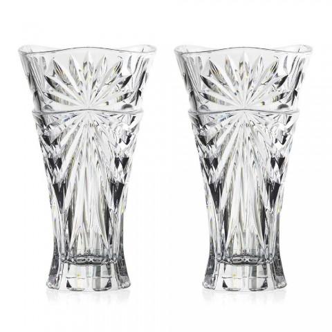 2 borddekorationsvaser i unikt design økologisk krystal - Daniele