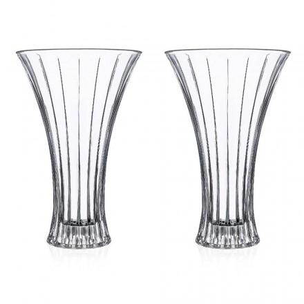 2 designdekorationsvaser i gennemsigtig øko-krystalindrettet luksus - Senzatempo