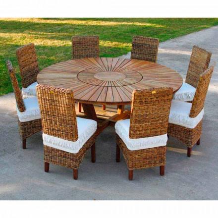Rundt bord i teak og solid Rigtig udendørs bord