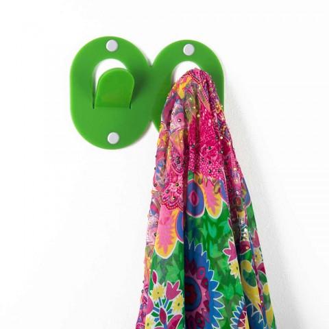 3 vægbøjler i farvet plexiglas dobbelt italiensk design med klips - Freddie