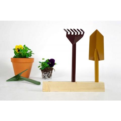 3 værktøj til havearbejde i metal med træbund lavet i Italien - Have