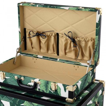 3 designkufferter i MDF og stof med detaljer i sort lædereffekt - Amazonia