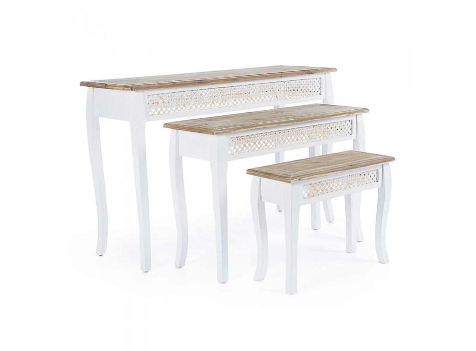 3 Designkonsol i klassisk stil i granbambusbambus og Mdf - Camalow
