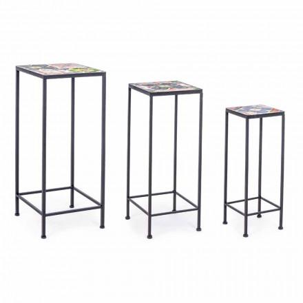 3 firkantede havedesignborde i stål med dekorer - Fortryllende