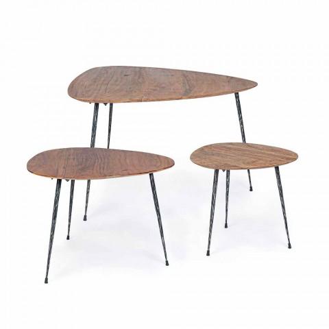 3 moderne kaffeborde med Homemotion Mango Wood Top - Kalidi