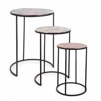 3 runde kaffeborde i aluminiums- og stålhememotion - Sempronio