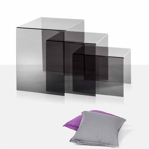 3 indskudsborde sofaborde røget Amalia, moderne design, fremstillet i Italien