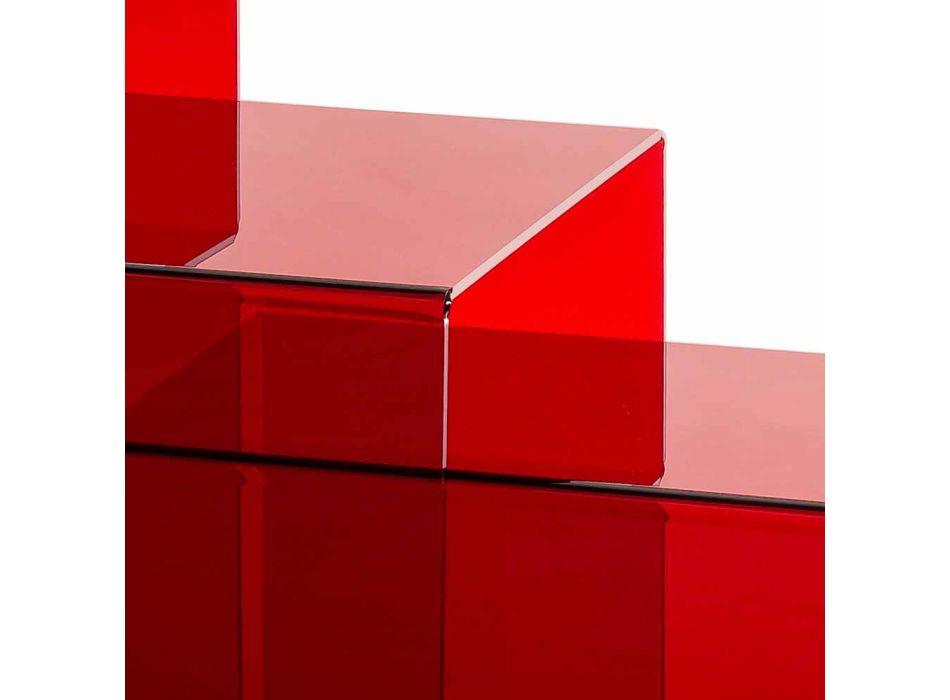 3 røde stabelbare borde Amalia, moderne design, lavet i Italien