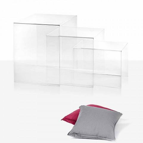 3 transparente stabelbare borde Amalia design, fremstillet i Italien