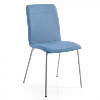 4 køkken- eller opholdsstole i farvet ecoleather- og metaldesign - Hermione