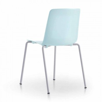 4 stabelbare udendørs stole i metal og polypropylen fremstillet i Italien - Carita
