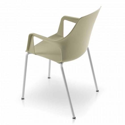 4 stabelbare udendørs stole i polypropylen og metal fremstillet i Italien - Carlene