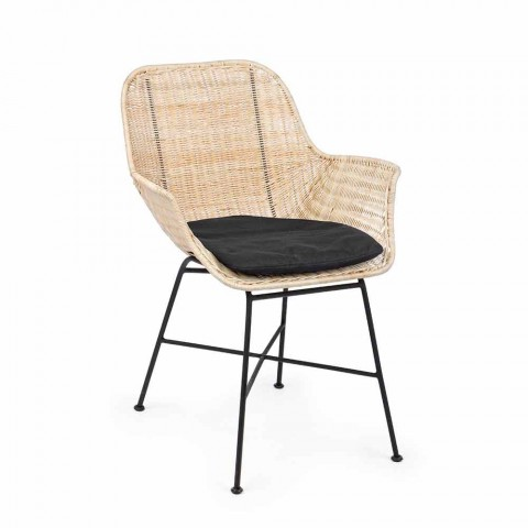 4 udendørs stole i vævet kurve- og stålhjemmebevægelse - Berecca