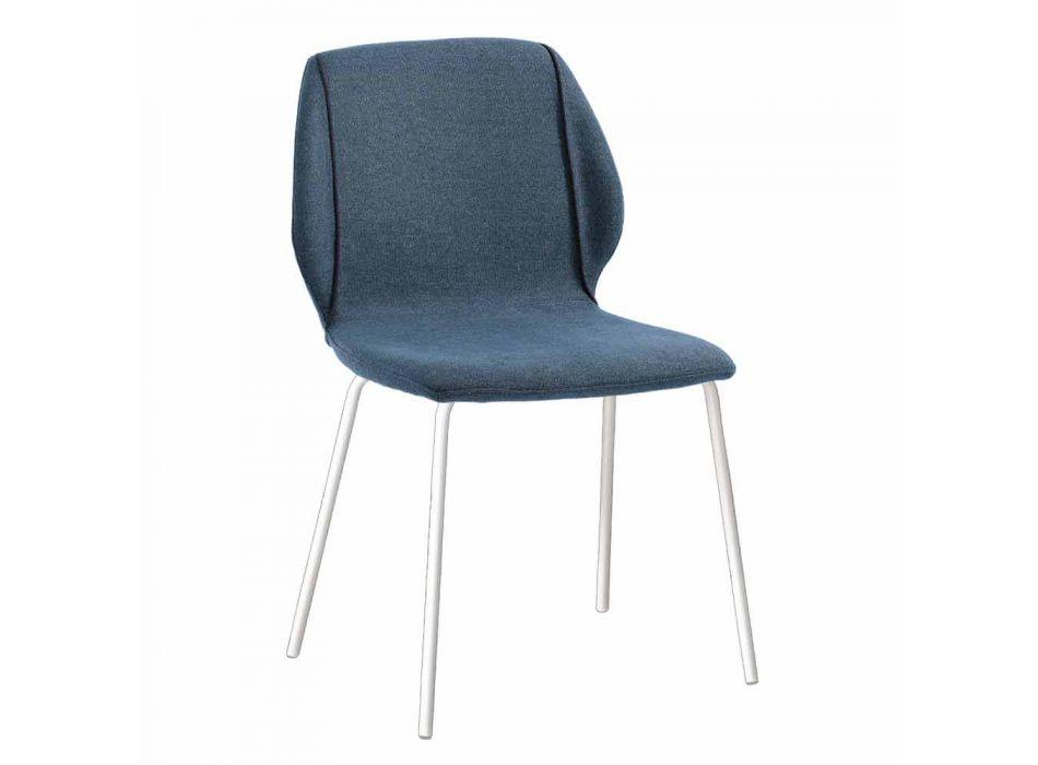 4 Elegante moderne design stue stole i stof med kant - Scarat