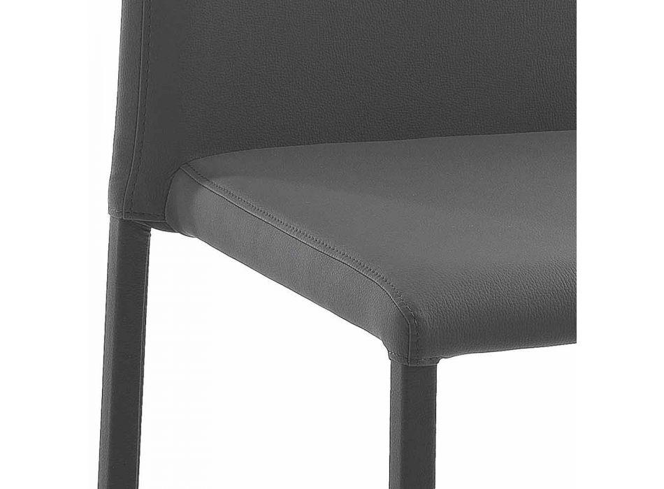 4 elegante moderne designstole i farvet økolæder til stue - Grenger