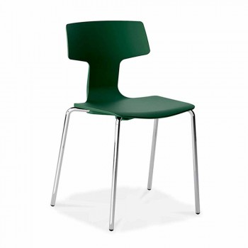 4 stabelbare stole i metal og polypropylen fremstillet i Italien - Clarinda