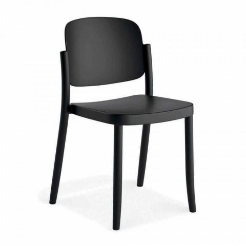 4 moderne stabelbare udendørs stole i polypropylen fremstillet i Italien - Bernetta