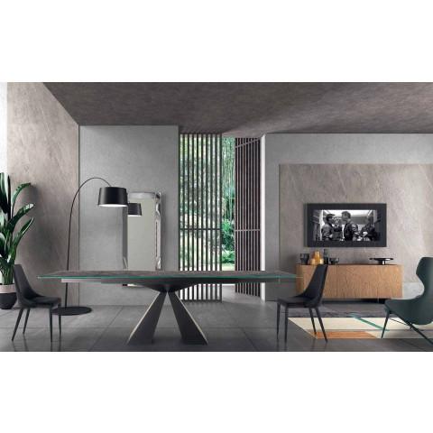 4 moderne stålstole med polstret fløjlsæde fremstillet i Italien - Nirvana