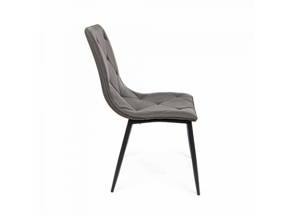 4 moderne stole dækket i kunstlæder med Homemotion af stålbase - Daisa