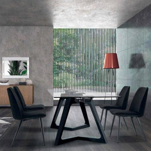 4 Polstrede spisestuestole betrukket med fløjl Lavet i Italien - korn