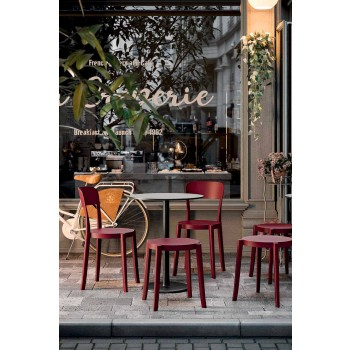 4 Udendørs stabelbar afføring Design i polypropylen fremstillet i Italien - Anona