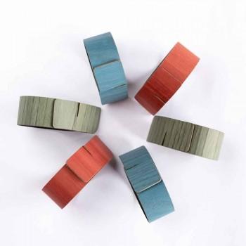6 design servietringe i forskellige farver lavet i Italien - potte