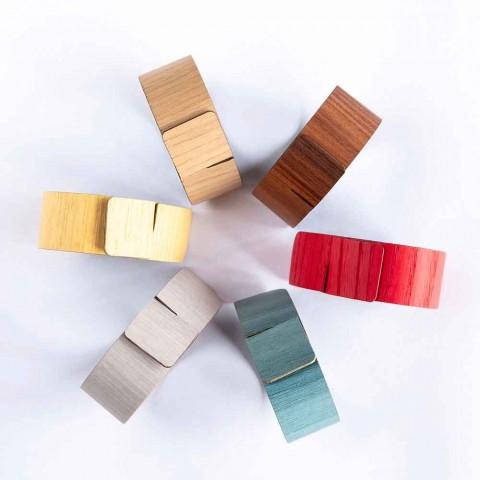 6 servietringe i moderne træ og stof fremstillet i Italien - potte