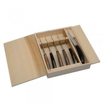 6 håndværkskøkkeknive med oxhornhornhåndtag lavet i Italien - Marino