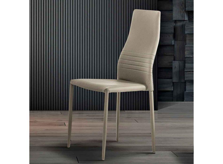 6 stabelbare stole i farvet øko-læder moderne design til stuen - Merida