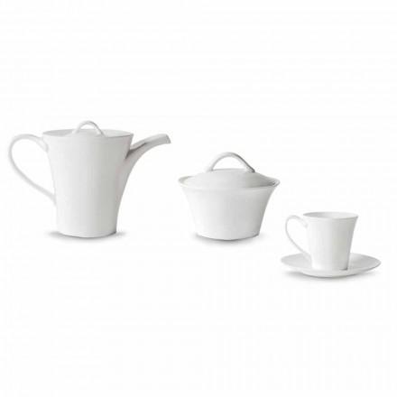 6 porcelænskaffe kopper med tallerken, kaffekande og sukker skål - Romilda