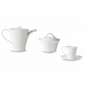 6 Porcelænskaffe med plade, kaffekande og sukkerskål - Romilda
