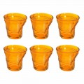 12 kaffekopper krøllet farvet designglas - Sarabi