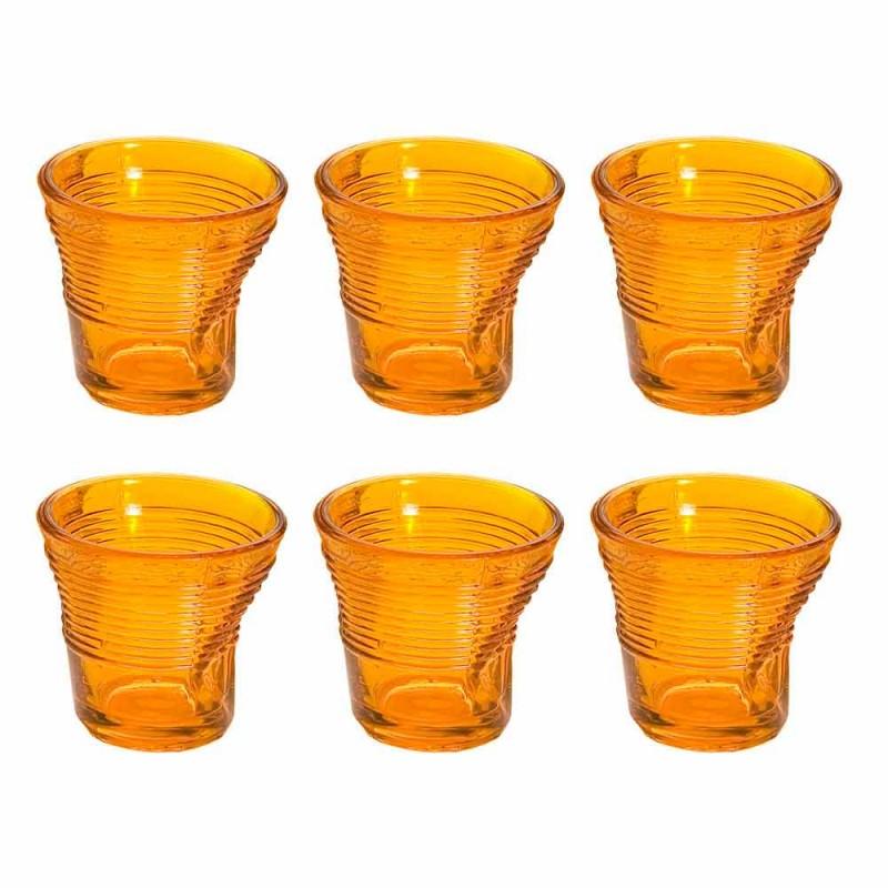 6 kaffekopper krøllede briller i farvet designglas - Sarabi