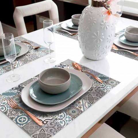 6 vaskbare amerikanske placemats i Pvc og polyester mønster - Belita