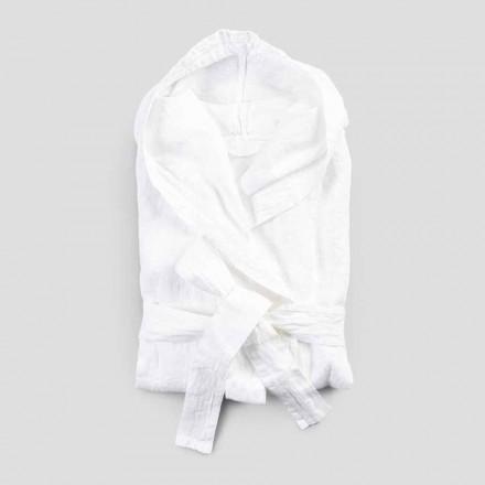 Tung linned hvid badekåbe med italiensk luksushætte - Palace