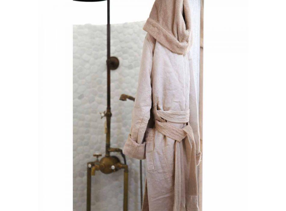 Vendbar badekåbe af terry og linned med hætte - Mirandola