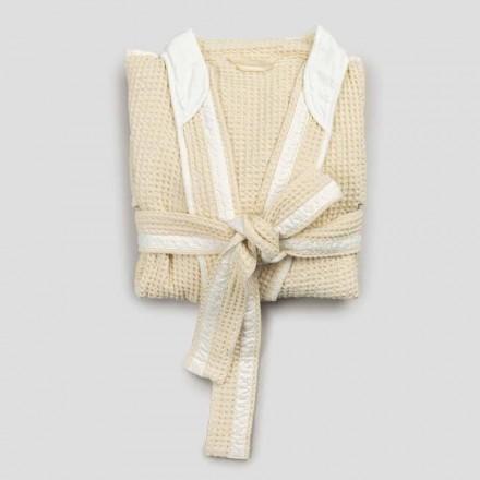 Luksus Kimono badekåbe i linned og bomuld, 2 finish fremstillet i Italien - Kleone