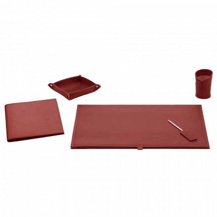 Kontortilbehør til skrivebord i limet læder, 5 stykker - Aristoteles
