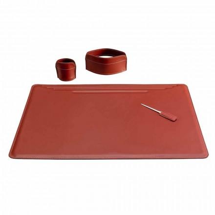 Tilbehør til kontorpult i læder, 4 stykker, fremstillet i Italien - Ebe