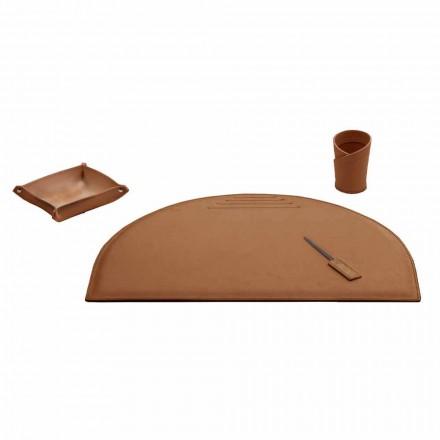 Kontortilbehør til skrivebord i regenereret læder, fremstillet i Italien - Medea