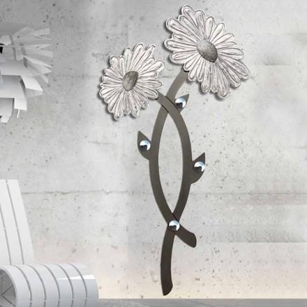 Hånddekoreret vægkrog i sølv Clarke design