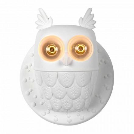 Væglampe 2 lys i mat hvid keramik ugle ugle - ugle
