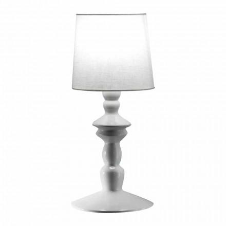 Væglampe i malbar keramik og lampeskærm i hvid linned - Cadabra