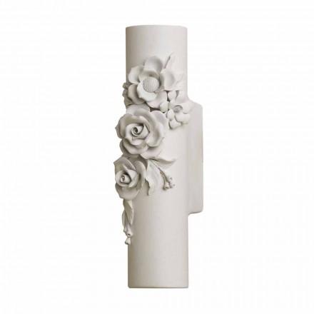 Væglampe i mathvid keramik med dekorative blomster - Revolution
