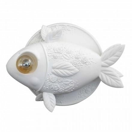 Væglampe i mathvid keramisk design med dekoreret fisk - fisk