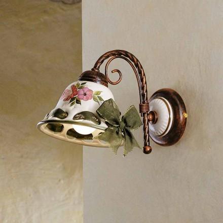 Sconce keramiske væg dekoreret rustikke Ferroluce Napoli