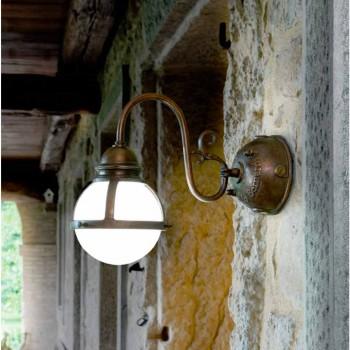 Applique sømline antik messing og hvid blæst glas