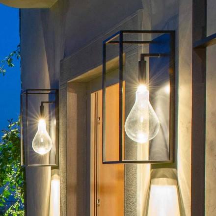 Udendørs jernvæglampe med varmt LED-lys og glas fremstillet i Italien - Falda