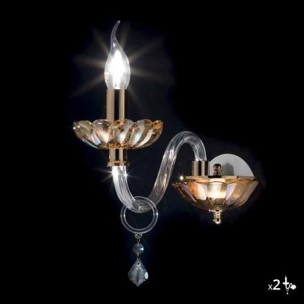 Væglamper klassiske design i krystal og glas Fin, 2 stk